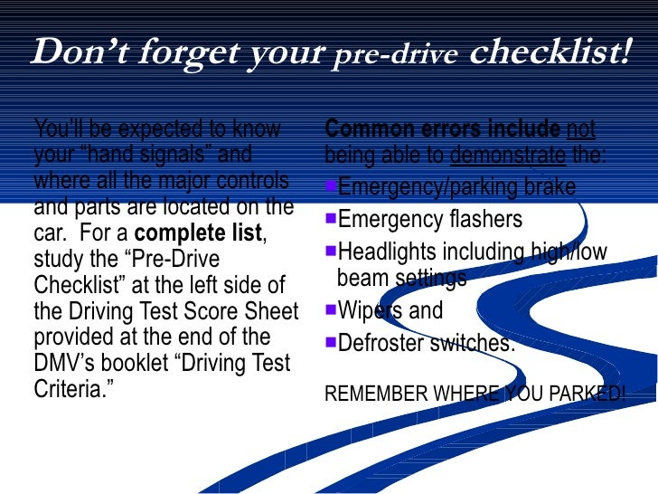 Pass the California DMV's Driver Performance Evaluation 4 20 09