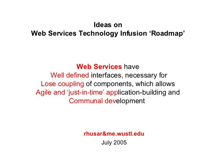 Ideas on Web Services Technology Infusion 'Roadmap' rhusar&me.wustl.edu July 2005 Web Services  have  Well defined  interf...