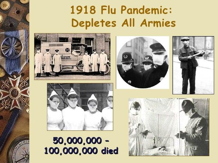 1918 Flu Pandemic:  Depletes All Armies 50,000,000 – 100,000,000 died