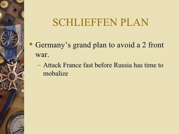 SCHLIEFFEN PLAN <ul><li>Germany's grand plan to avoid a 2 front war. </li></ul><ul><ul><li>Attack France fast before Russi...