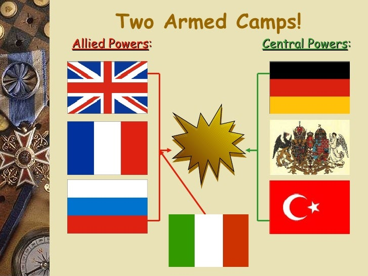 Two Armed Camps! Allied Powers : Central Powers :