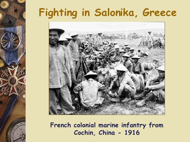 Fighting in Salonika, Greece French colonial marine infantry from Cochin, China - 1916