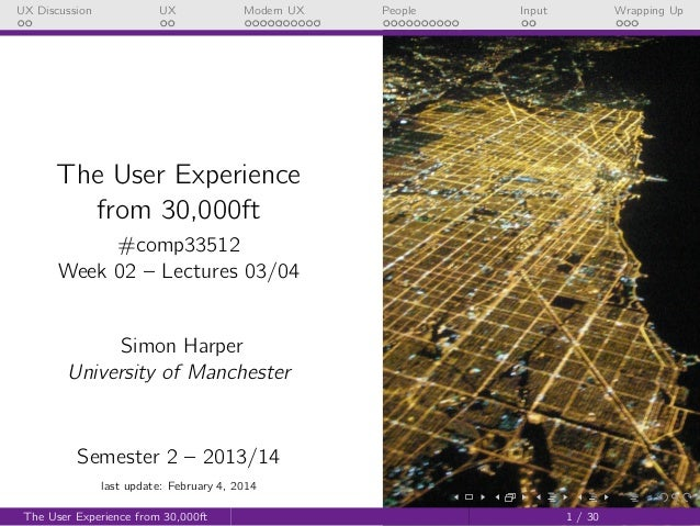UX Discussion  UX  Modern UX  People  Input  Wrapping Up  The User Experience from 30,000ft #comp33512 Week 02 – Lectures ...