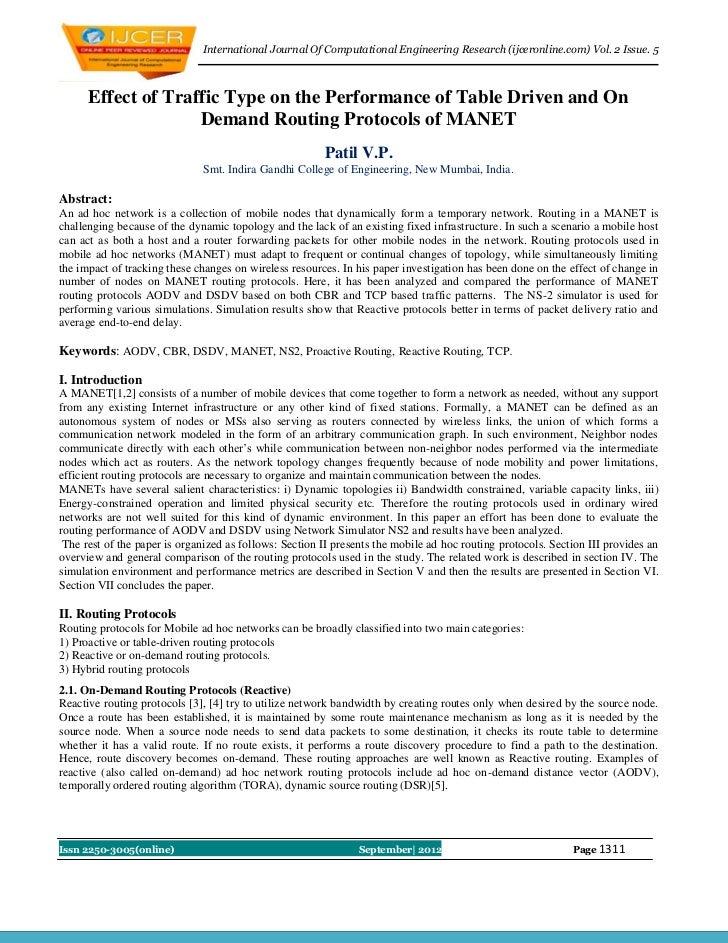 International Journal Of Computational Engineering Research (ijceronline.com) Vol. 2 Issue. 5      Effect of Traffic Type ...