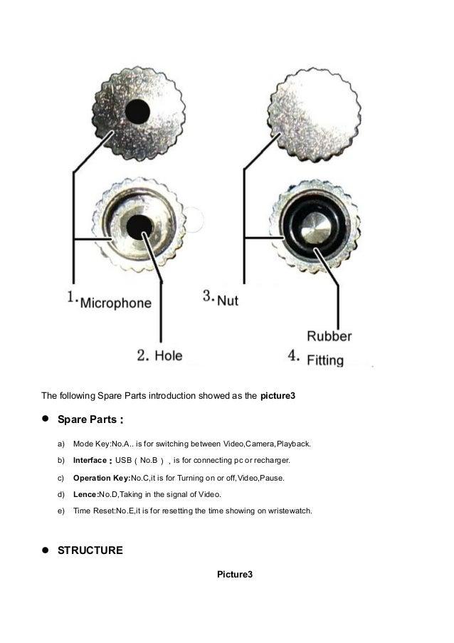 Spy watch camera user guide W1000 5000