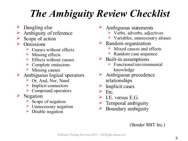 All Rights Reserved 4 5 The Ambiguity Review Checklist