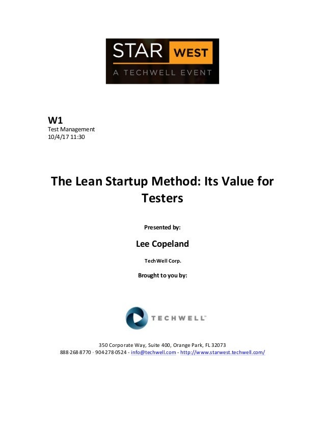 W1   Test  Management   10/4/17  11:30   The  Lean  Startup  Method:  Its  Value  for   Testers  ...
