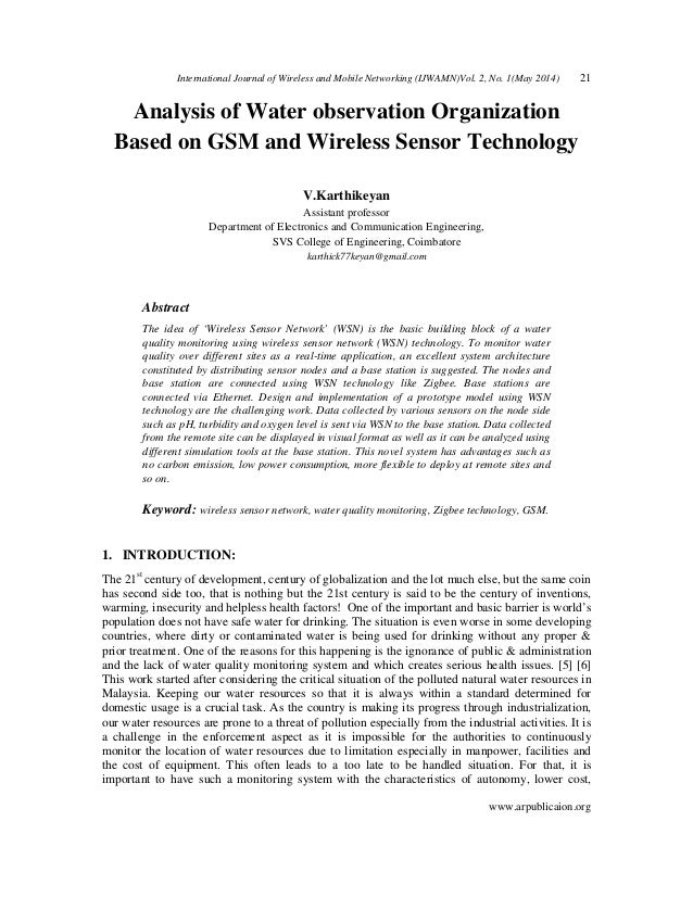 International Journal of Wireless and Mobile Networking (IJWAMN)Vol. 2, No. 1(May 2014) 21 www.arpublicaion.org Analysis o...
