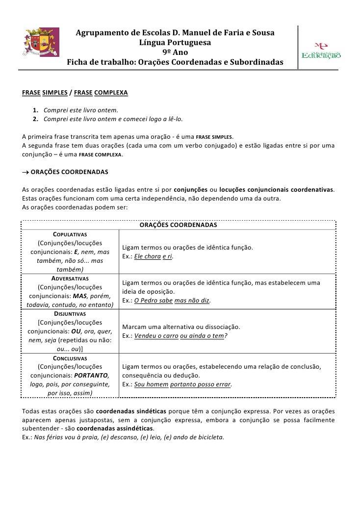 Agrupamento de Escolas D. Manuel de Faria e Sousa                                  Língua Portuguesa                      ...