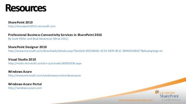 Using BCS to integrate Azure Services with SharePoint 2010
