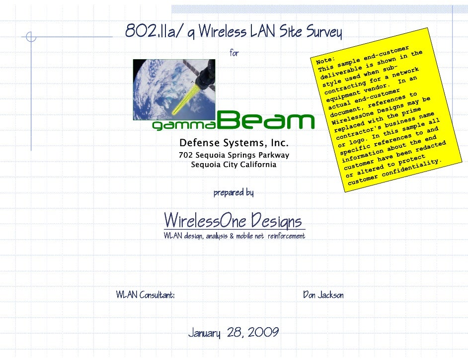 802.11a/g Wireless LAN Site Survey                                   for                                   for            ...