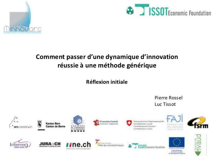 Comment passer d'une dynamique d'innovation     réussie à une méthode générique               Réflexion initiale          ...