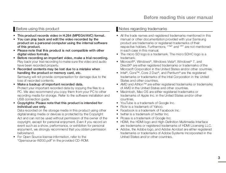 Samsung Pocket Cam W200 User Manual – User Manual Format