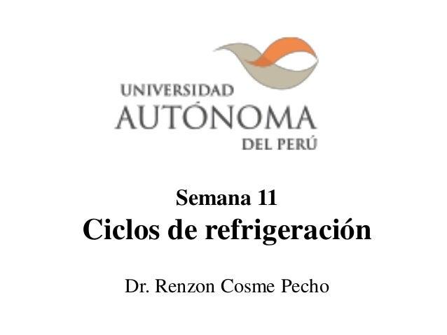 Semana 11 Ciclos de refrigeración Dr. Renzon Cosme Pecho
