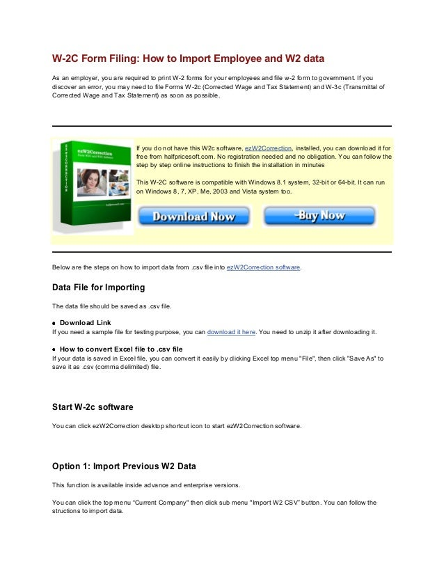How to speed up W-2C printing by importing data