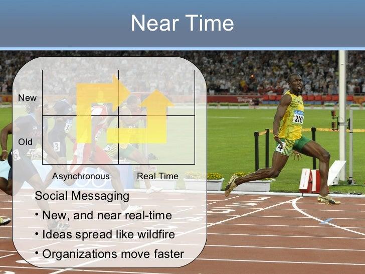 Near Time <ul><li>Social Messaging </li></ul><ul><li>New, and near real-time </li></ul><ul><li>Ideas spread like wildfire ...
