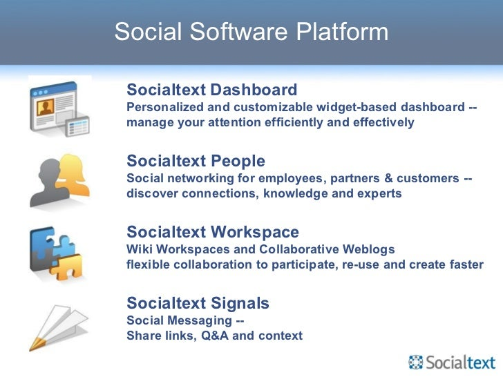 Social Software Platform Socialtext Dashboard Personalized and customizable widget-based dashboard -- manage your attentio...