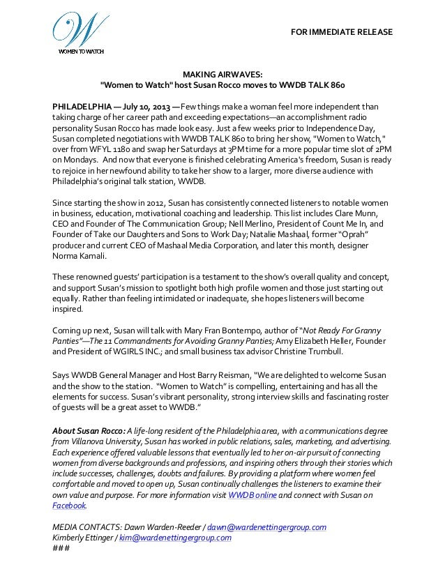 """FOR  IMMEDIATE  RELEASE MAKING  AIRWAVES:   """"Women  to  Watch""""  host  Susan  Rocco..."""
