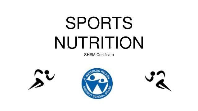 SPORTS NUTRITIONSHSM Certificate