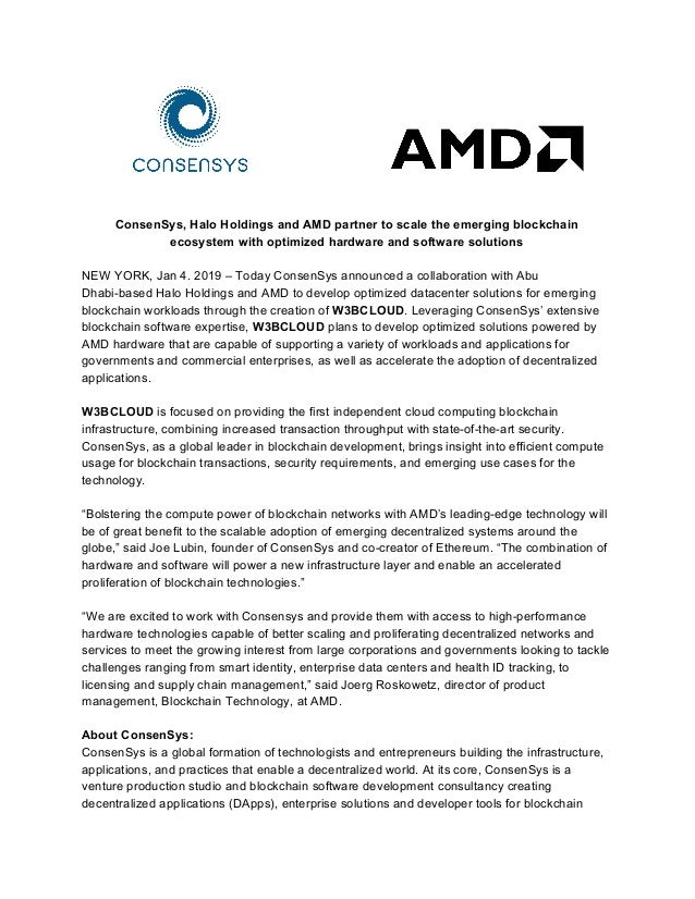 ConsenSys, Halo Holdings and AMD partner to scale the emerging blockchain ecosystem with optimized hardware and software s...