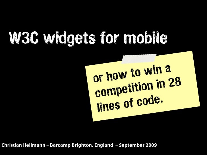 W3C widgets for mobile                                             ow to win a                                      or h  ...