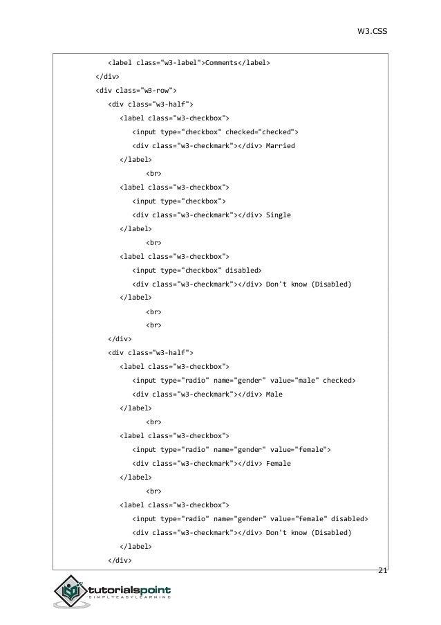 W3css tutorial