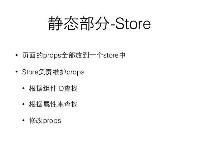 静态部分-Store • ⻚页⾯面的props全部放到⼀一个store中 • Store负责维护props • 根据组件ID查找 • 根据属性来查找 • 修改props
