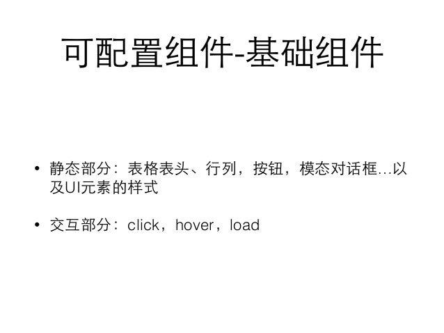 可配置组件-基础组件 • 静态部分:表格表头、⾏行列,按钮,模态对话框…以 及UI元素的样式 • 交互部分:click,hover,load