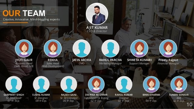 OUR TEAM Creative, Innovative, Mind-boggling experts AJIT KUMAR CEO & Director JYOTI GAUR Business Head (SMS, Email, IVR) ...