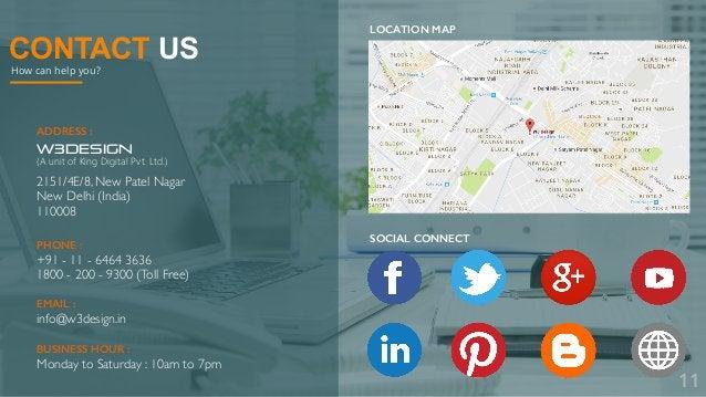 CONTACT US How can help you? ADDRESS : W3DESIGN (A unit of King Digital Pvt. Ltd.) 2151/4E/8, New Patel Nagar New Delhi (I...