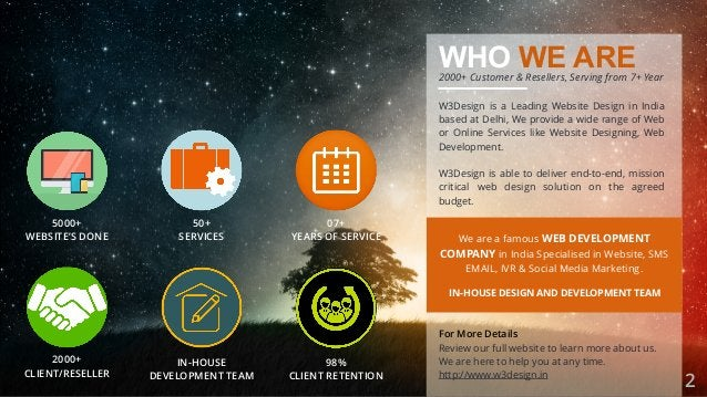 WHO WE ARE W3Design is a Leading Website Design in India based at Delhi, We provide a wide range of Web or Online Services...