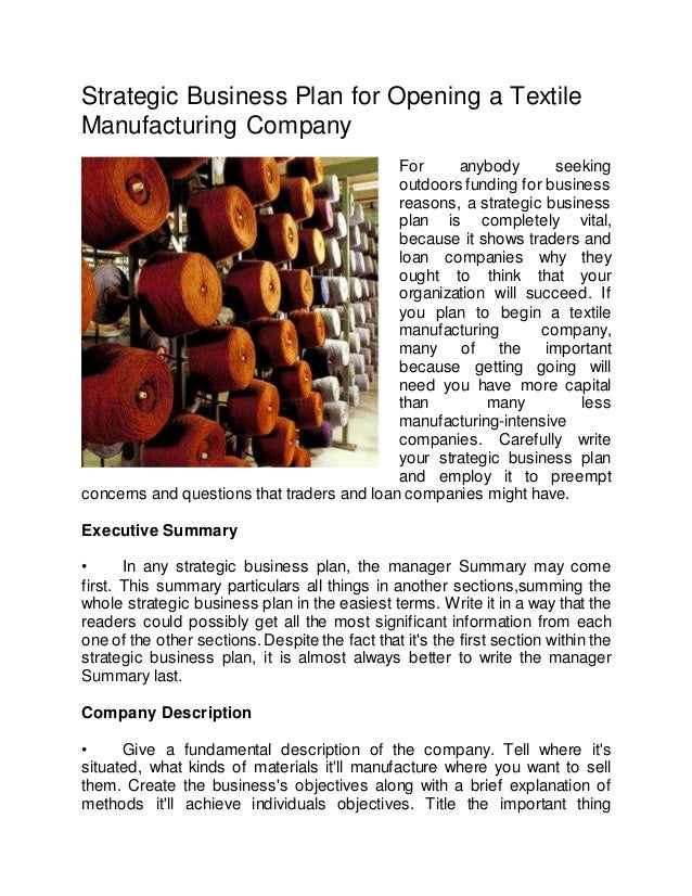 business plan of textile company
