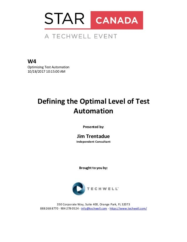 Defining the Optimal Level of Test Automation