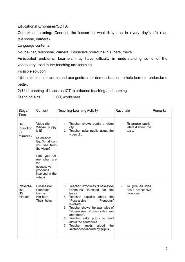 lesson plan for grammar Lesson plan cover sheet continued – use this side of the sheet if your lesson contains any language ie grammar, vocabulary, phonology what is the meaning of the.