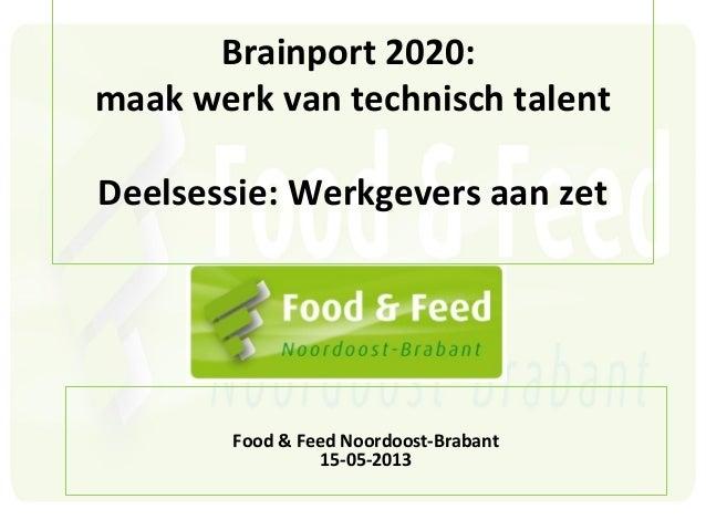 Brainport 2020:maak werk van technisch talentDeelsessie: Werkgevers aan zetFood & Feed Noordoost-Brabant15-05-2013