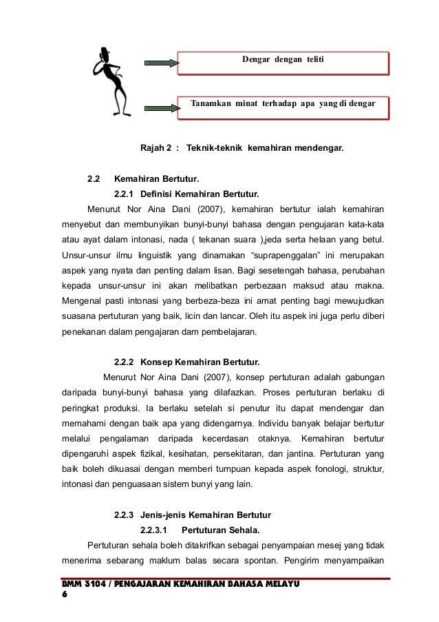 Rajah 2 : Teknik-teknik kemahiran mendengar. 2.2 Kemahiran Bertutur. 2.2.1 Definisi Kemahiran Bertutur. Menurut Nor Aina D...