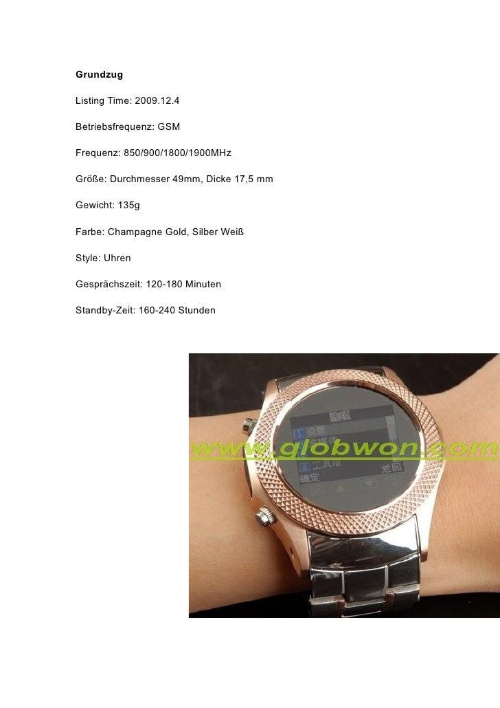 Grundzug  Listing Time: 2009.12.4  Betriebsfrequenz: GSM  Frequenz: 850/900/1800/1900MHz  Größe: Durchmesser 49mm, Dicke 1...