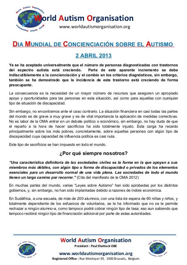 World Autism Organisation                             www.worldautismorganisation.org  DIA MUNDIAL DE CONCIENCIACIÓN SOBRE...