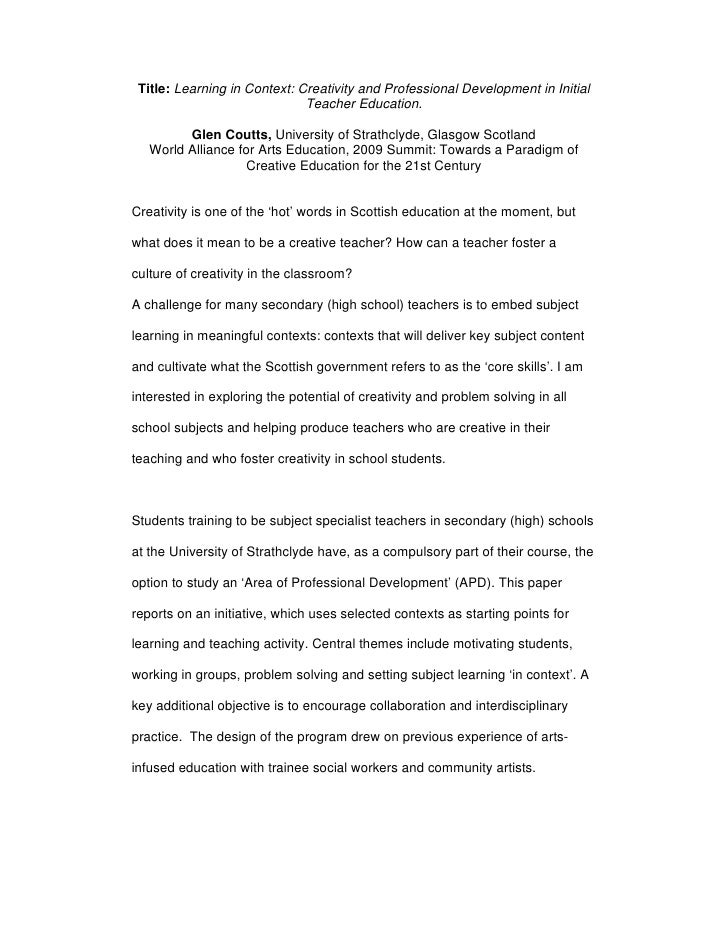 Title: Learning in Context: Creativity and Professional Development in Initial                               Teacher Educa...