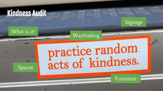 Kindness Audit What is it? Wayfinding Signage Spaces Furniture
