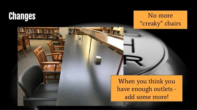 """Changes No more """"creaky"""" chairs When you think you have enough outlets - add some more!"""
