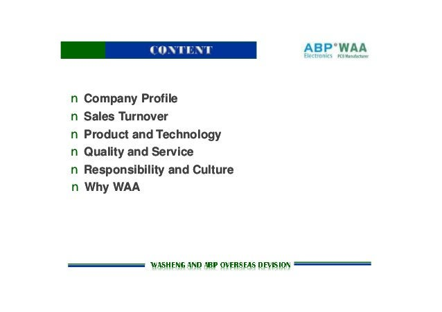 n Company Profilen Company Profile n Sales Turnovern Sales Turnover n Product and Technologyn Product and Technology n Qua...