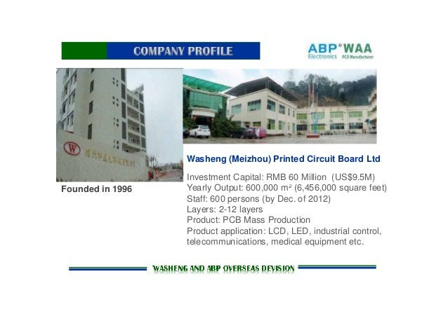 Washeng (Meizhou) Printed Circuit Board Ltd Founded in 1996 Investment Capital: RMB 60 Million (US$9.5M) Yearly Output: 60...