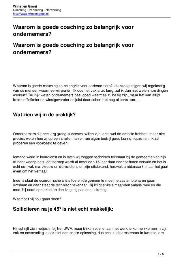 Winst en Groei Coaching - Partnering - Networking http://www.winstengroei.nl  Waarom is goede coaching zo belangrijk voor ...