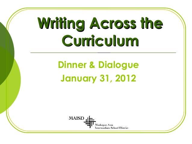 Writing Across theWriting Across the CurriculumCurriculum Dinner & Dialogue January 31, 2012
