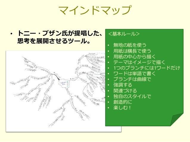 マインドマップ • トニー・ブザン氏が提唱した、 思考を展開させるツール。 <基本ルール> • 無地の紙を使う • 用紙は横長で使う • 用紙の中心から描く • テーマはイメージで描く • 1つのブランチには1ワードだけ • ワードは単語で書く...
