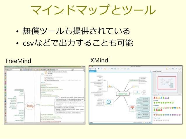 マインドマップとツール • 無償ツールも提供されている • csvなどで出力することも可能 FreeMind XMind