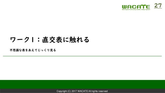 Copyright (C) 2017 WACATE All rights reserved ワーク1:直交表に触れる 不思議な表をあえてじっくり見る 27