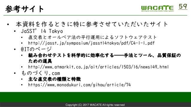 Copyright (C) 2017 WACATE All rights reserved 参考サイト 59 • 本資料を作るときに特に参考させていただいたサイト • JaSST'14 Tokyo • 直交表とオールペア法の平行運用によるソフト...