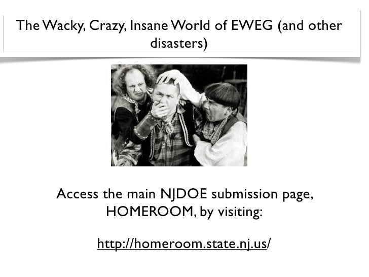 The Wacky, Crazy, Insane World of EWEG (and other                      disasters)           Access the main NJDOE submissi...